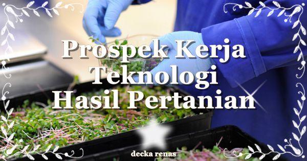 Prospek Kerja Teknologi Hasil Pertanian